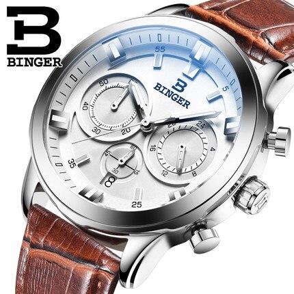 New Brand Binger Business unique wristwatches male quartz leather band strap watches calendar date Trendy retro