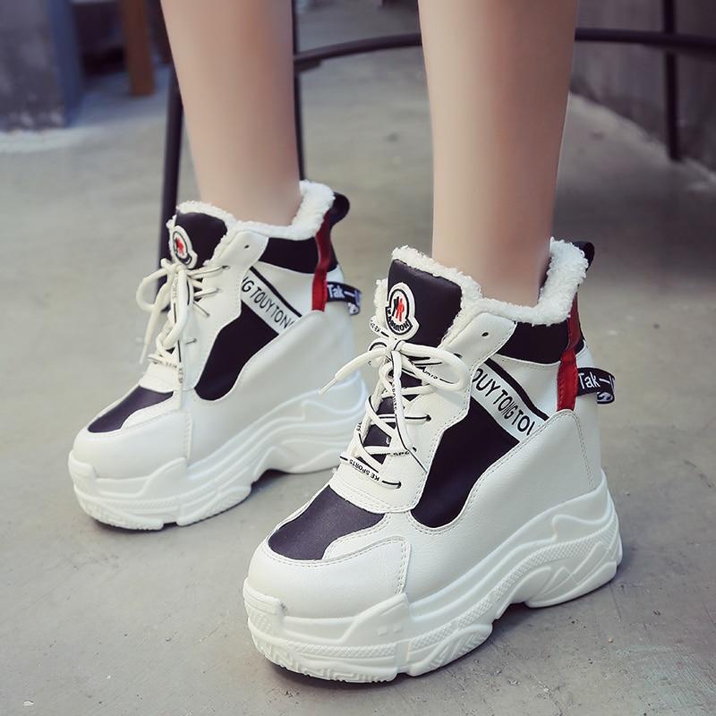 7ea0e7a32ad Chaussures Beige Femme Casual Croissante Plate Femmes De Rimocy Chaud En  Hiver Haute Cachés noir Sneakers forme ...
