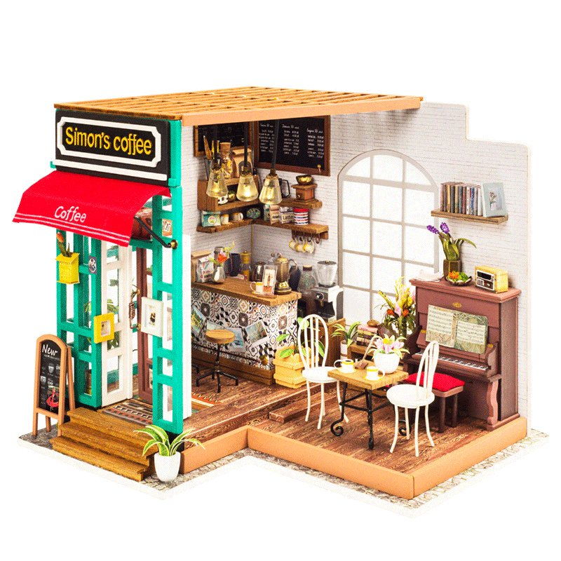 Hot Sales DG109 DIY DollHouse Miniature Cafe Wooden Doll house Toy Decor Craft Gift Toys For Children Kids Model Building Kits