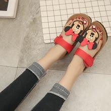 Новинка 2017 года стиль Корк Женская летняя обувь плоская подошва сандалии женские шлепанцы Микки мультфильм повседневная одежда Нескользящие пляжные вьетнамки