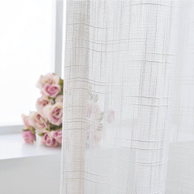 jinchan solid white sheer curtains volie rod pocket drapes window treatment set for living room - White Sheer Curtains