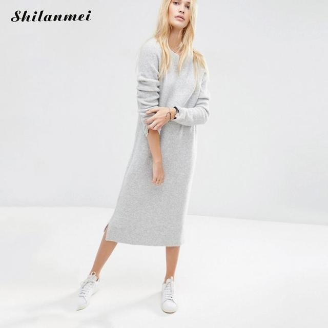 6cbb44a6cca 2017 Autumn Winter Long Sweater Knitted Dress Women Sexy Casual Long Maxi  Sweaters Dress side slit Pull Vestidos Robe Dresses