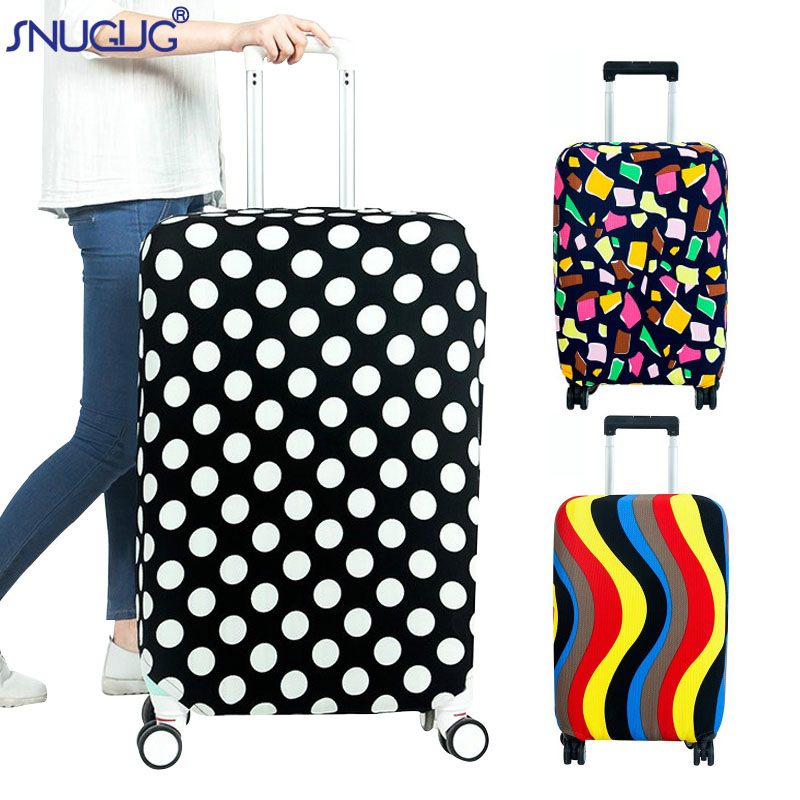 Colorful Snowflakes Art Elastic Travel Luggage Cover,Double Print Fashion Washable Suitcase Protector Cover Fits 18-32inch Luggage