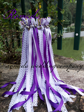 FREE SHIPPING-50pcs/lot Dark purple and Light wedding  twirling ribbon wands for outdoor party