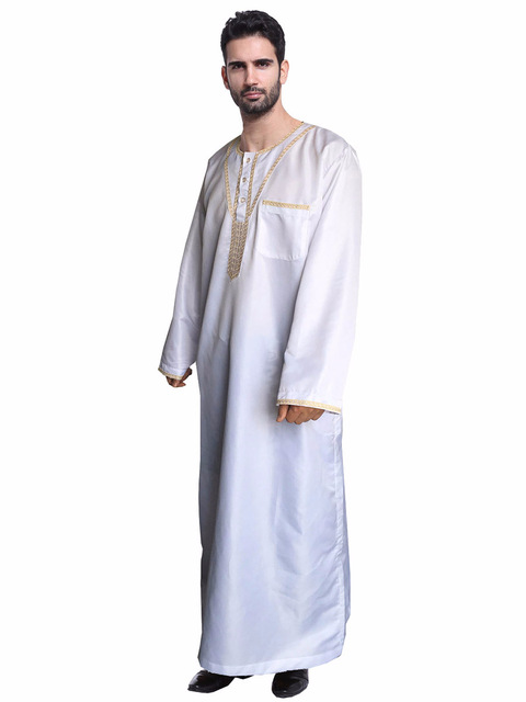 Arab Muslim Clothing for Men Thobe Arabic Islamic Abayas Dress Indian Mens  Robe Men Islamic Clothing 40d0c67f1