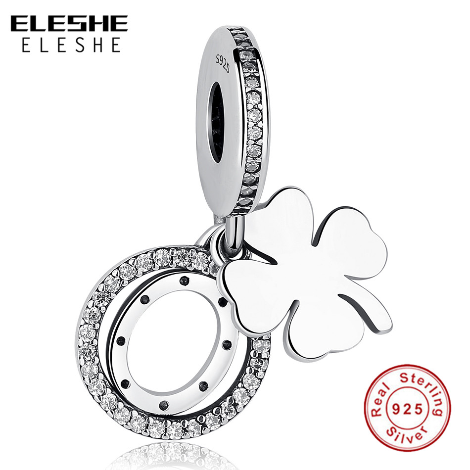 ELESHE 2018 Authentic 925 Sterling Silver Lucky Day Bead Clover Charms Fit Original Pandora Bracelet Pendant DIY Jewelry Making strollgirl car keys 100% sterling silver charm beads fit pandora charms silver 925 original bracelet pendant diy jewelry making