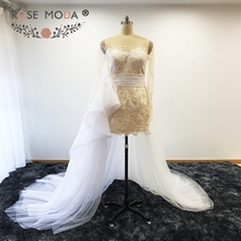 Sheer O Neck Long Sleeves Lace Short Wedding Dress with Tulle Train Keyhole Back Summer Bridal Gown