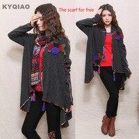 Original Vintage Cardigan For Women Girls Plus Size Flowers Tassels Knitwear 2015 Mexican Style Design Knit