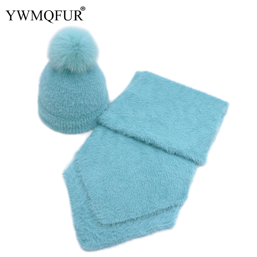 2019 Winter Vintage Imitation Mink Fur Women And Kids Hat Scarf Set Solid Lady Beanies Caps Scarves Girl Hats With Fox Fur Ball
