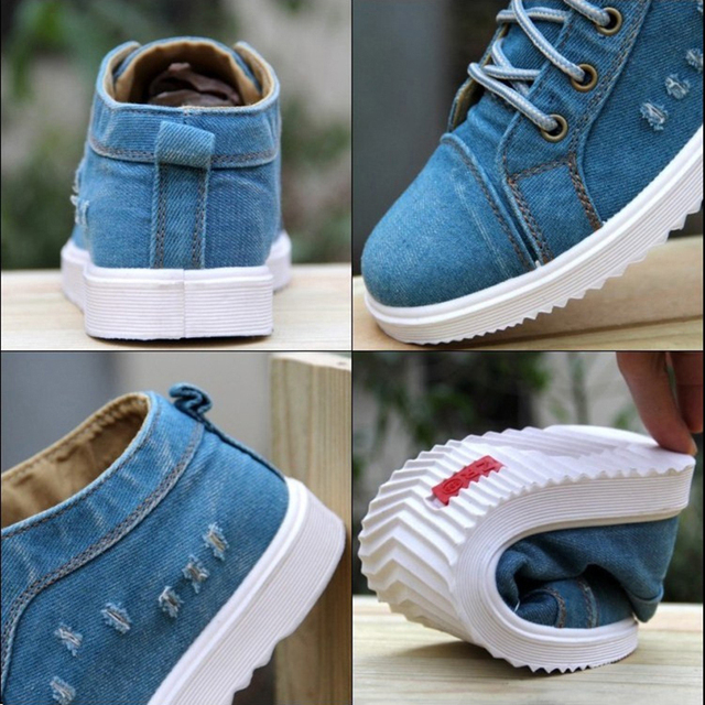 British Style Fashion Vintage Denim Jean Canvas Shoes Men High-top Casual Man Ankle Boots Flat Shoes Usual School Boy Footwear 5