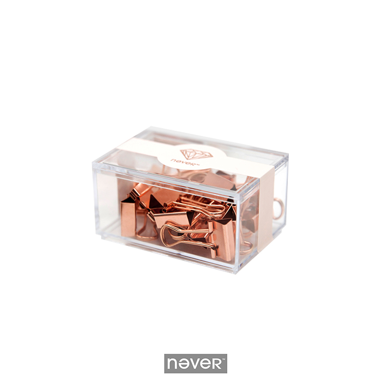 Never Rose Gold Metal Paper Clips Large Fashion Creative Binder Clips Memo Holder Office Accessories Stationery School Supplies clear plastic sign paper memo card holder display pop swivel double promotion clips with good quality