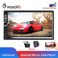 Podofo Car Stereo 12V Car Radio Tuner 2 Din 7 Touch Bluetooth Multimedia Auto Audio Autoradio MP5 USB Support Rear View Camera