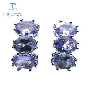 Image 2 - TBJ, küçük romantik küpe doğal tanzanite taş 925 ayar gümüş güzel sevgililer hediye kadınlar için hediye kutusu