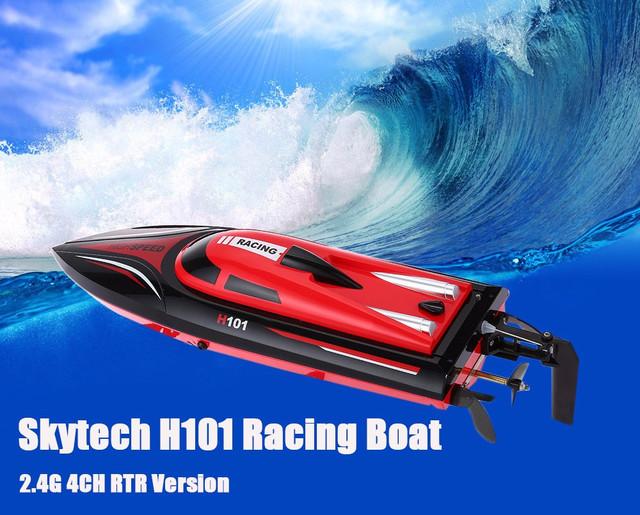 Skytech h101 2.4g control remoto de 180 grados flip de alta velocidad eléctrica de 4 Canales RC Racing Barco Lancha Barco de Juguete de Los Niños Del Cabrito toys