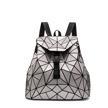 2019 New Bao Women Backpack Fashion Bagpack Woman Hologram Folding School Bags For Girls Laser Geometry Mochila Silver