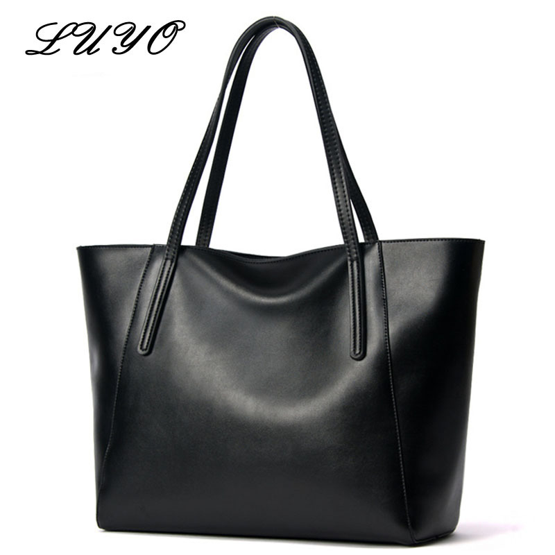 Luyo Brand Large Capacity Genuine Leather Tote Luxury Atmosphere Handbags Party Women Black Girls Shoulder Bags Female DesignerLuyo Brand Large Capacity Genuine Leather Tote Luxury Atmosphere Handbags Party Women Black Girls Shoulder Bags Female Designer