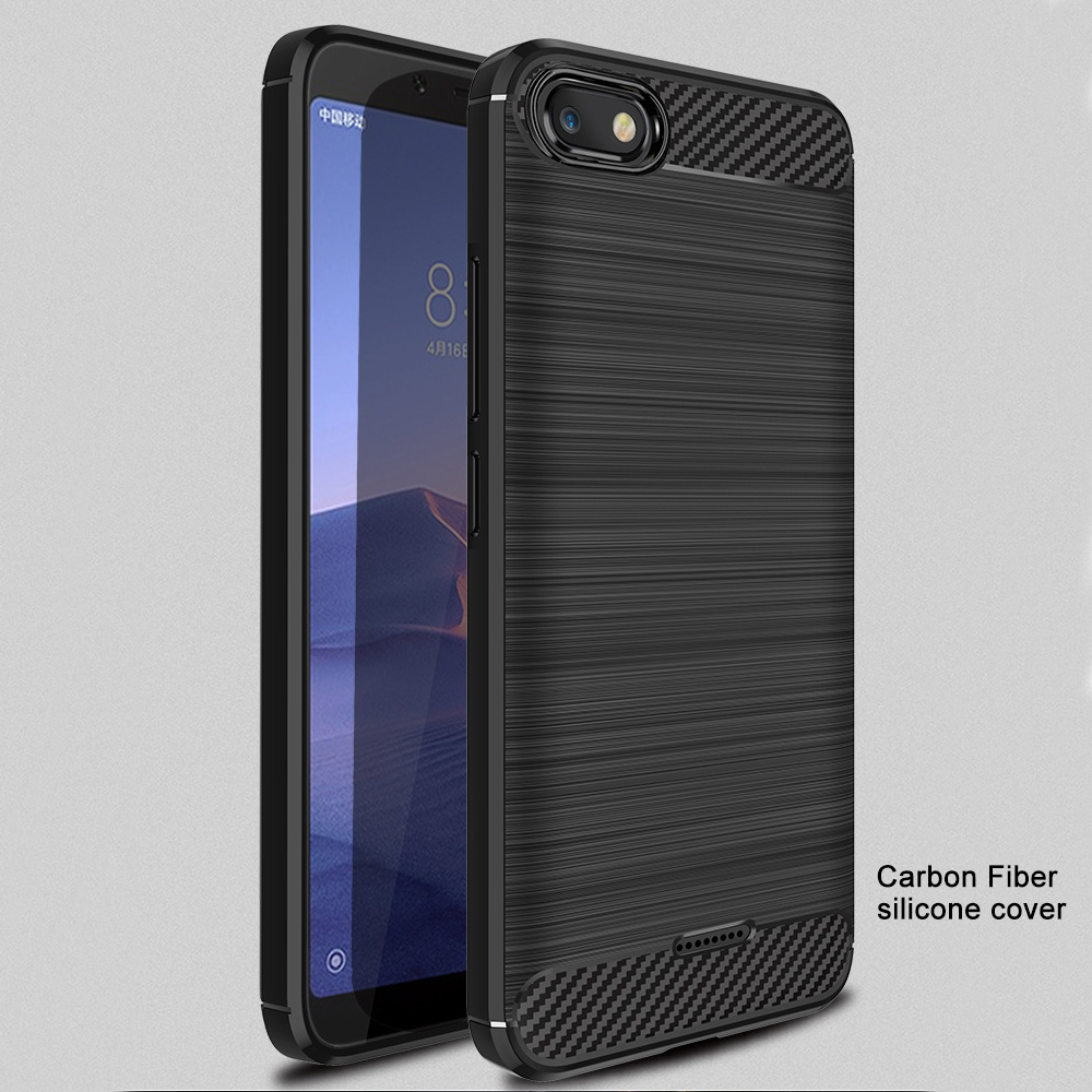 Carbon Fiber Case On Xiaomi Redmi 6A 6A Cover For Redmi 6A Case Soft silicone Bumper Back Cover For Xiaomi Redemi 6A Phone Cases(China)