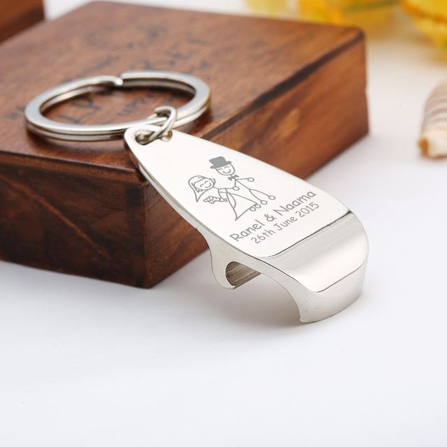 100x Personalised Wedding Favour Metal Chrome Key Ring Chain Beer Bottle Opener Personalized Gift Souvenir