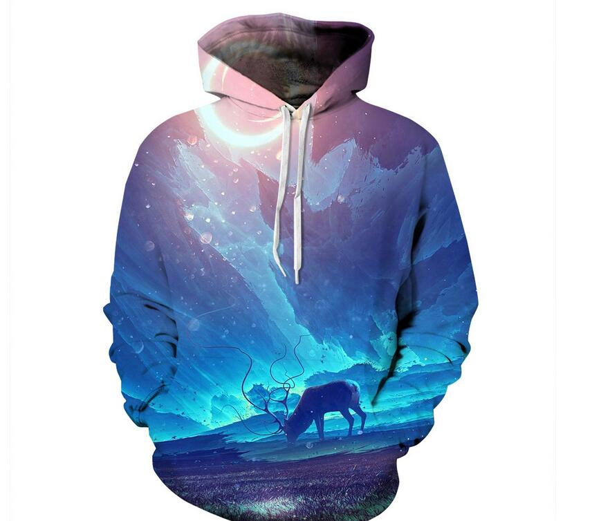 S-XXXL 2018 Autumn Men/Women Hooded Hoodies Print Hoodies Blue Long Harn Deer Galaxy 3d Sweatshirs with hat Unisex Pullovers