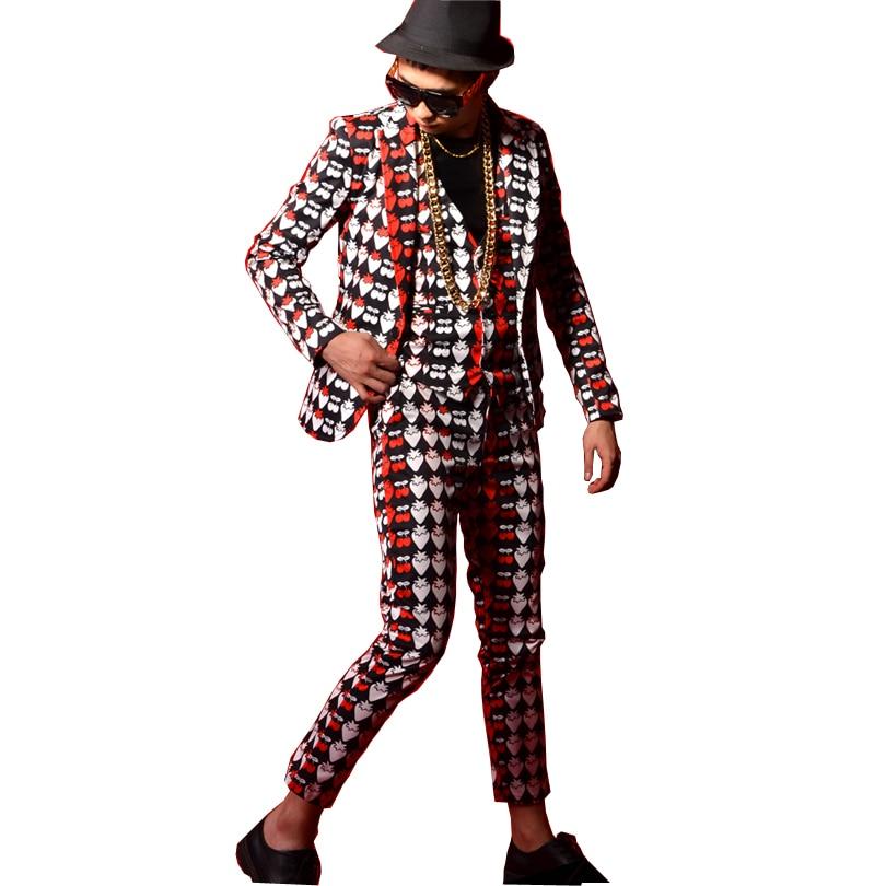 Mannen Slim Fit Casual Pak Jas Blazers Jas Aardbei Afdrukken Mannelijke Danser Zangeres DJ Mode Hip Hop Stage Kostuums Custom-in Blazers van Mannenkleding op AliExpress - 11.11_Dubbel 11Vrijgezellendag 1