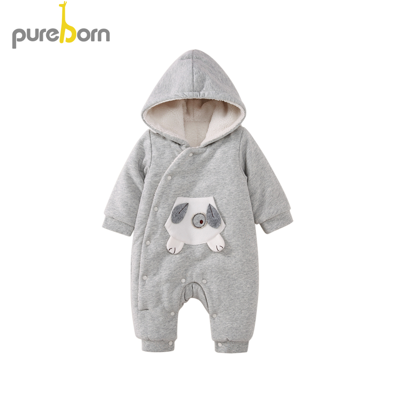 Pureborn Baby Boys Girls Romper Hooded Cartoon Baby Clothes Warm High Quality Cotton Jumpsuit Newborn Overall Droship New