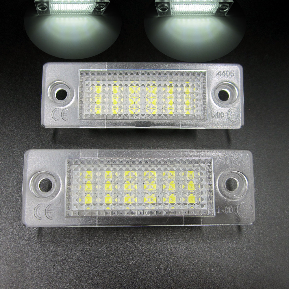 2x White 18 LED 3528 SMD Number License Plate Lights Lamp for VW Passat B5 Caddy T5 Free Shipping 2pcs car led license plate lights 12v white smd3528 led number plate lamp bulb kit for ford focus c max 03 07