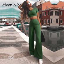 2 Two Piece Set Women Ribbed O Neck Crop Top and Long Pants