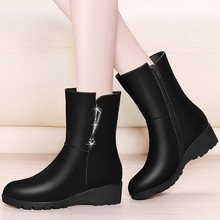 New Rhinestone Mid Calf Boots Black Red Fashion Round Toe Casual Party Martin Boots Winter Wedges Snow Boots For Women YG-B0044 недорого