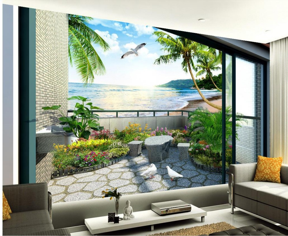 Aliexpress Com Buy Large Custom Mural Wallpapers Living: Aliexpress.com : Buy Custom 3d Wallpaper Balcony Garden