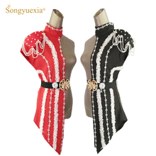 2019 New Sexy Sequins Black Red Patchwork Stage Dance Costum