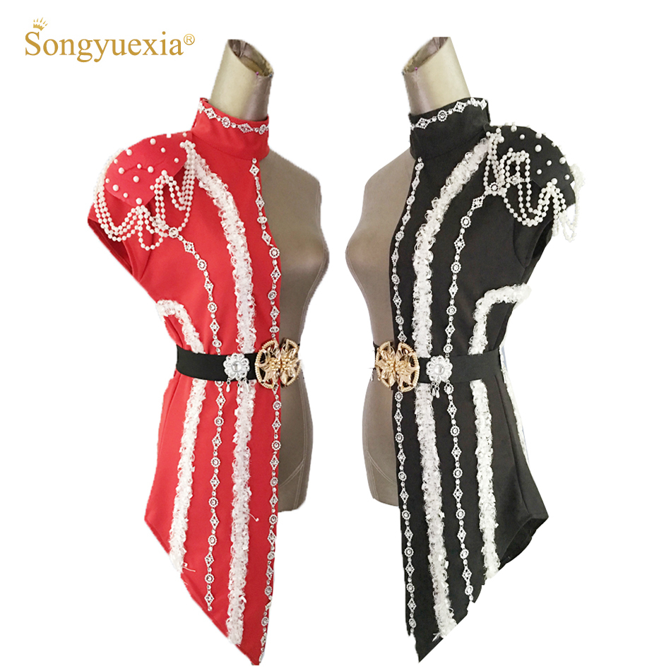 2020 New Sexy Sequins Black Red Patchwork Stage Dance Costumes Female Singer Ds Dj Costumes White Pearl Chain Collar Dance Wear