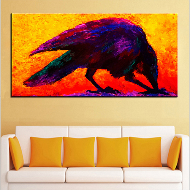 Large size Printing Oil Painting raven Wall painting Steampunk Wall ...