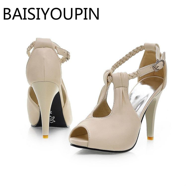 Women Fashion High Heels Shoes Small Size 30 33 Yards Sexy Women s Shoes  Fish Mouth Shoe Big Size 42 43 Rome Buckle Sandals 311a05cea7a0