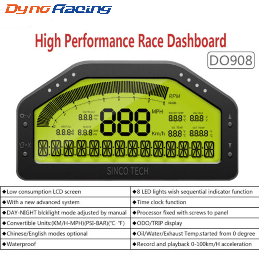 9 in 1 Rally Car Race Dash Dashboard LCD Digital Display Gauge Waterproof Car Meter Full Sensor Kit Tachometer DO908