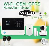 433mhz WiFi GSM GPRS alarm system work with APP 720P HD wireless ip camera PIR detector sensor wire siren