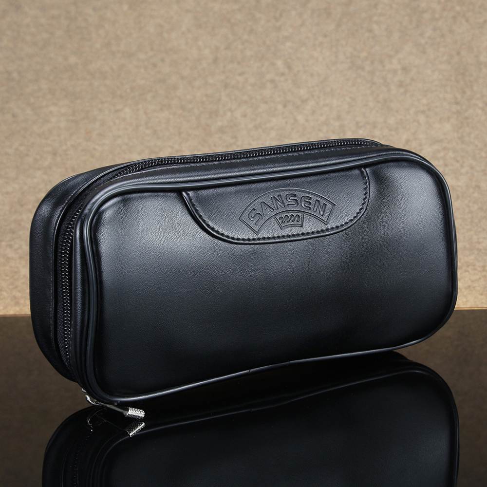 New Smooth Leather Bag For 2 Smoking Pipes Tobacco Bag Solid Black Smoking Case Tobacco Pipe Pouch Smoking Bag