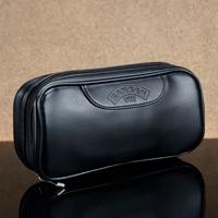 Novo saco de couro liso para 2 tubos de fumo saco de tabaco sólido preto caso de fumo tubo de tabaco bolsa de fumar|bag for|bag bag|bag for bag -