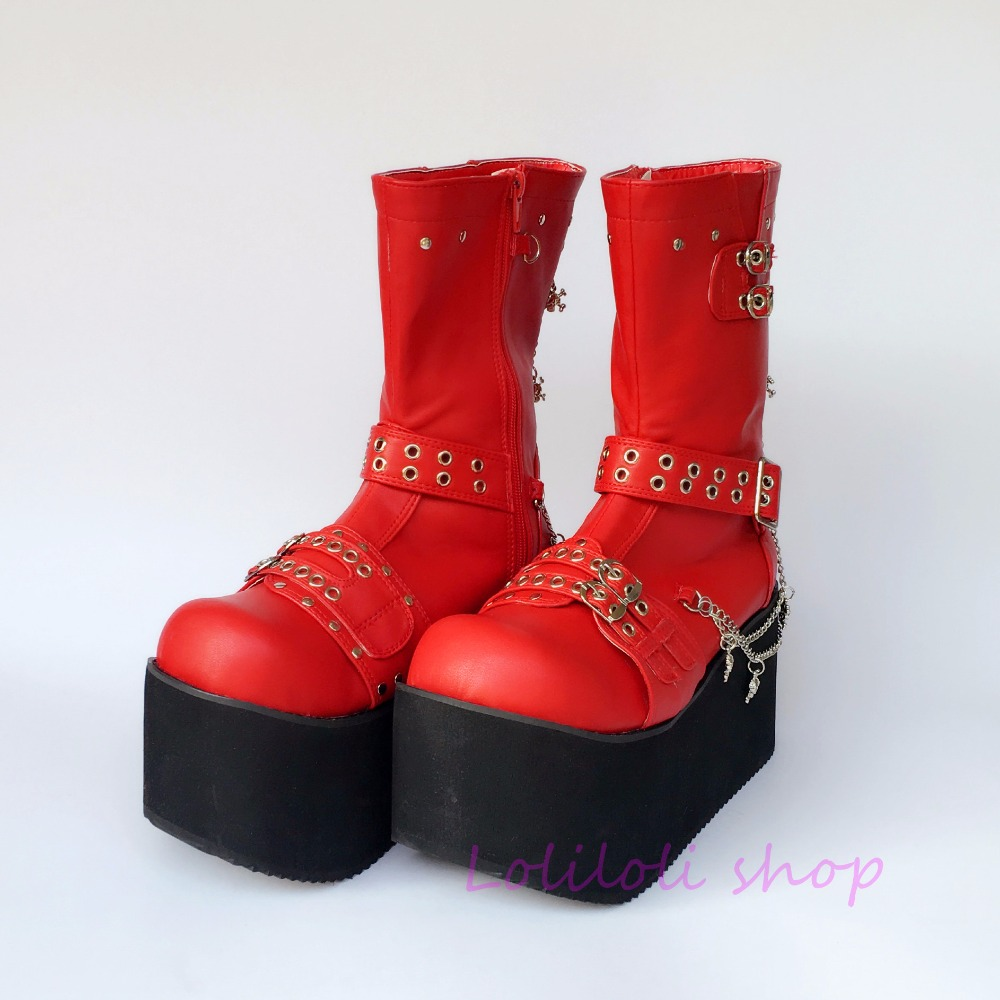 Princess sweet punk shoes loliloli yoyo Japanese design custom large-size bright red PU buckle strap mid-calf boots 4110 princess sweet punk shoes loliloli yoyo japanese design custom large size silver rivet skull lace up wedges black boots 6662