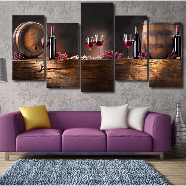 MP141 graceful wine glasses food artwork 5 piece canvas living room home wall modern art decor wood frame fabric posters prints