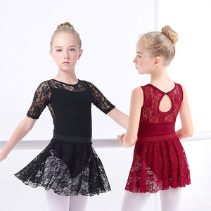 Image 1 - בנות בלט שמלת התעמלות בגדי גוף תחרה עקף בגדי גוף ארוך שרוול ילדים פעוט התעמלות בגד ים לריקודים