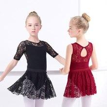 Mädchen Ballett Kleid Gymnastic Trikots Spitze Skirted Trikots Langarm Kinder Kleinkind Gymnastic Badeanzug Für Tanzen