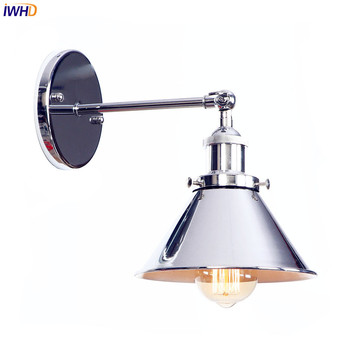 IWHD Silver Retro Vintage Antique Wall Lamp Beside Bedroom Bathroom Loft Style Industrial Wall Light Fixtures Edison Sconce nordic edison wall sconce retro loft style industrial vintage wall lamp simple wall light fixtures for indoor lighting lampara
