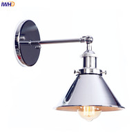 IWHD Silver Retro Vintage Antique Wall Lamp Beside Bedroom Bathroom Loft Style Industrial Wall Light Fixtures Edison Sconce