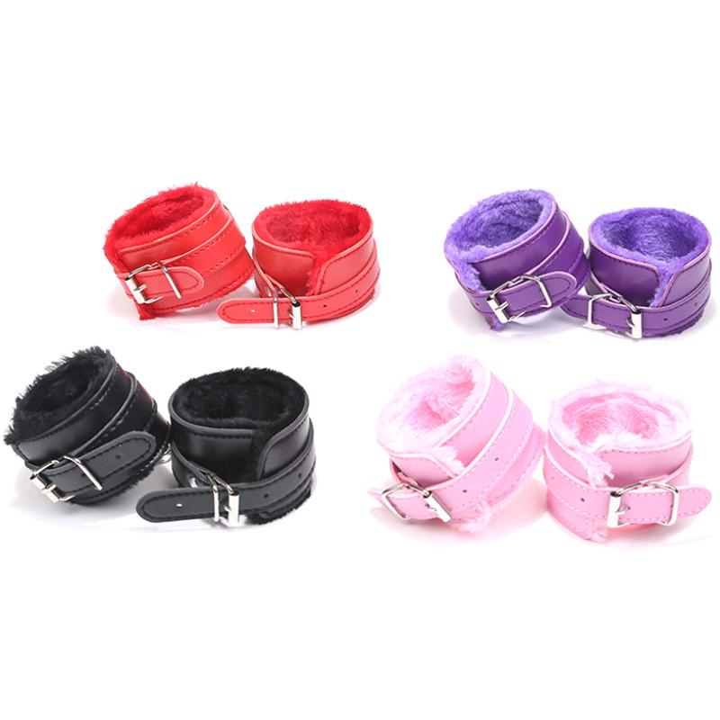 PU Leather Plush Handcuffs Ankle Cuff Restraints Sex Bondage Bracelet BDSM Erotic Sex Toy For Woman Couple Exotic Accessories