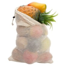 3 Size Reusable Cotton Vegetable Bags Home Kitchen Fruit And Storage Mesh With Drawstring Machine Washable