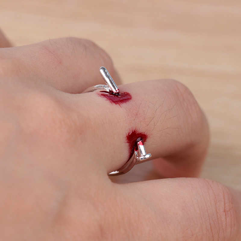 RONGQING 1pcs Fashion Punk Rock Screw Nail Ring Halloween Rings For Lovers Couple