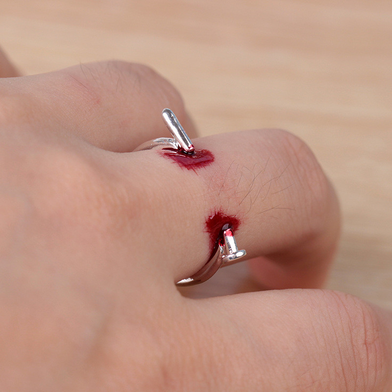 RONGQING 1pcs Fashion Punk Rock Screw Nail Ring Halloween Rings For Lovers Couple title=