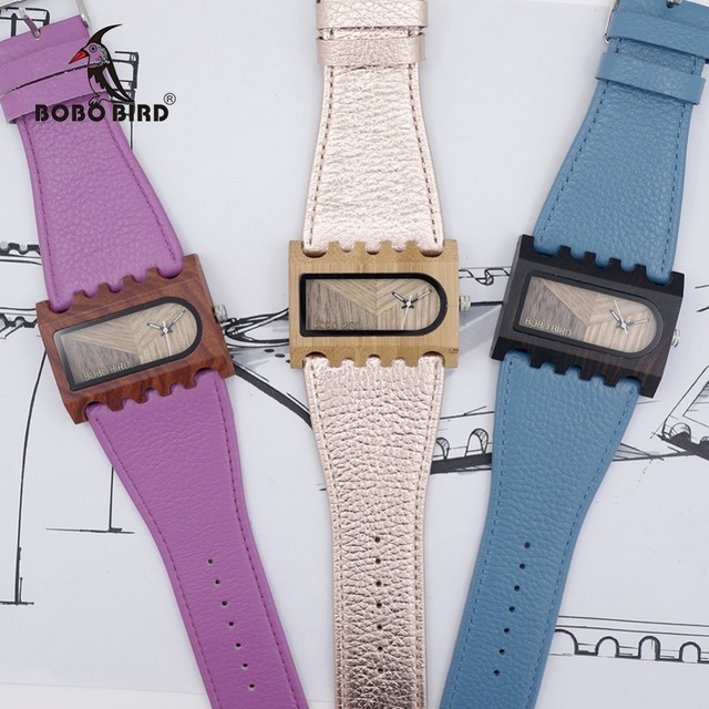 BOBO BIRD ใหม่ล่าสุดเกียร์ยี่ห้อ Designer นาฬิกาไม้ Handmade ผู้หญิงชุดลำลองนาฬิกาข้อมือที่ไม่ซ้ำกันหนังสีสันแถบของขวัญกล่อง