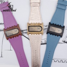 BOBO BIRD Newest Gear Brand Designer Wooden Watch Handmade Women Casual Dress Wristwatch Unique Colorful Leather Bands Gift Box