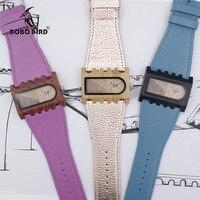BOBO BIRD Newest Gear Brand Designer Wooden Watch Handmade Women Casual Dress Wristwatch Unique Colorful Leather